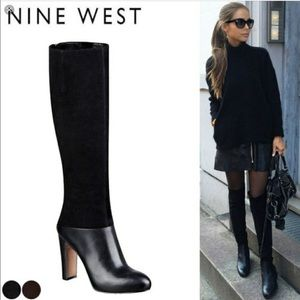 Like new Nine West leather & suede black boots